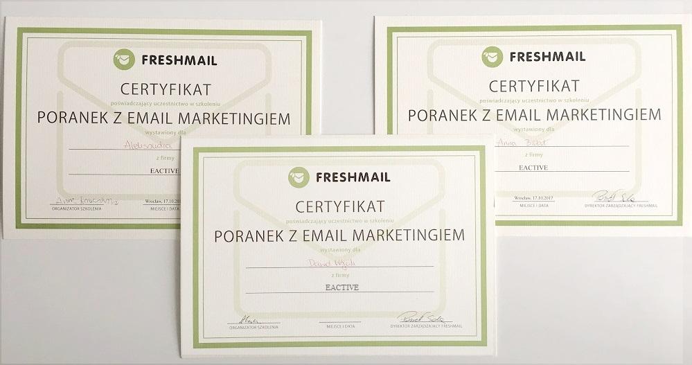 certyfikaty ze szkolenia od freshmail