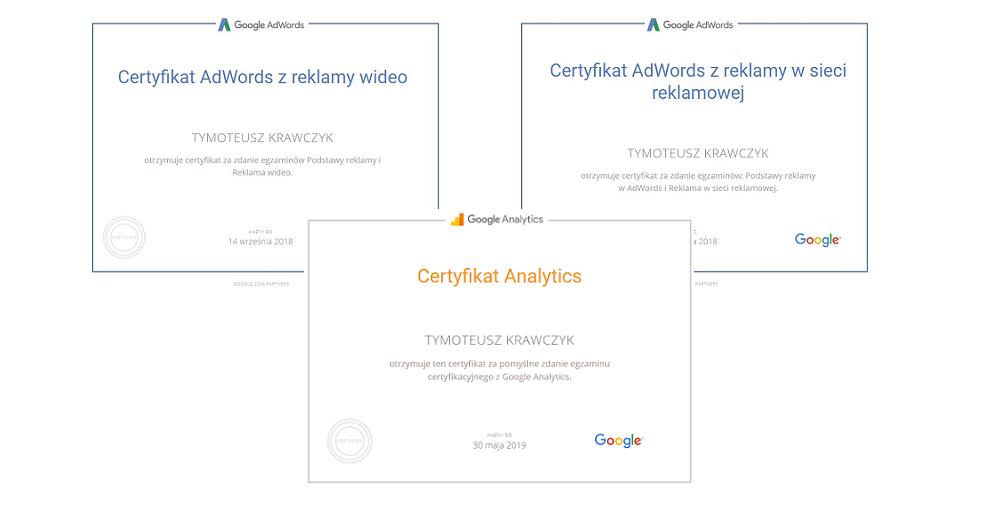 certyfikaty google adwords tymoteusza