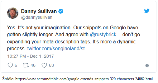 Tweet Danny'ego Sullivana zdnia 1 grudnia 2017
