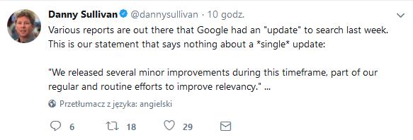 Danny Sullivan - tweet na temat zmian algorytmów