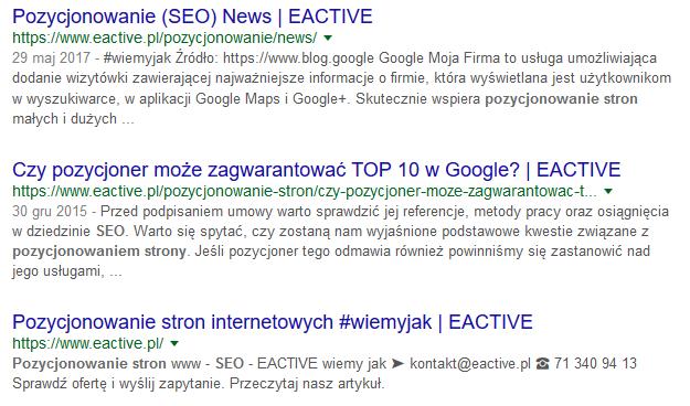 Wyniki wyszukiwania wGoogle na hasło pozycjonowanie iseo news
