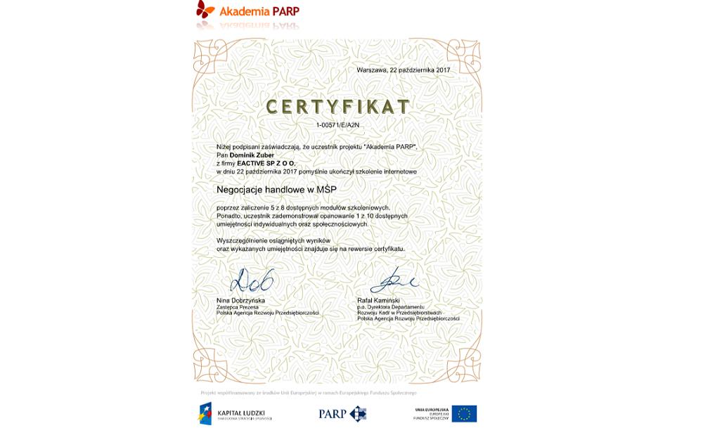 certyfikat znegocjacji handlowych