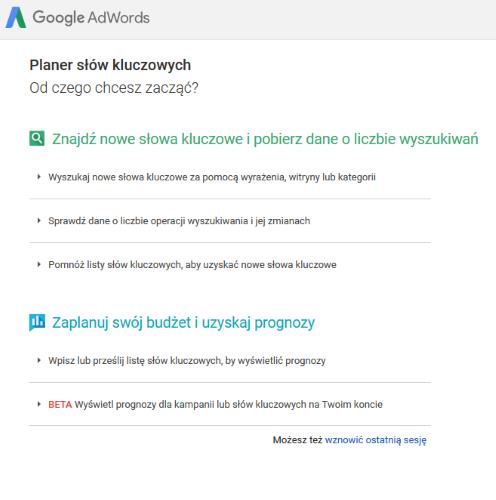 Narzędzie propozycji słów kluczowych - Planer Google