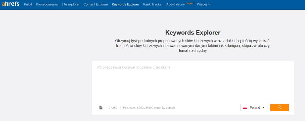 Narzędzie propozycji słów kluczowych - Keywords Explorer