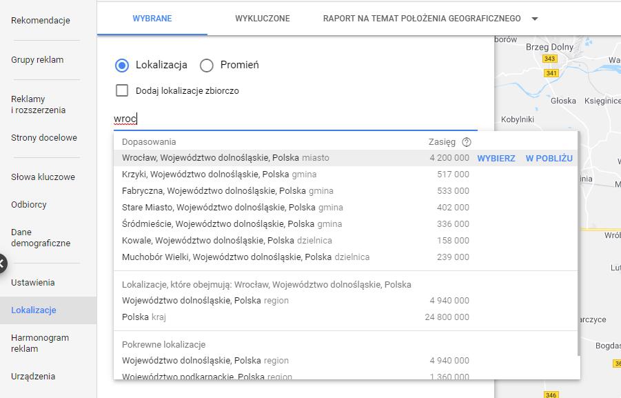 Geotargetowanie w google ads - miasto