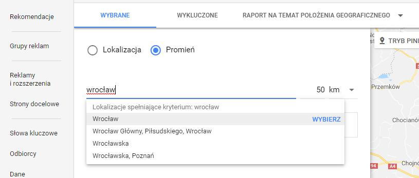 Geotargetowanie w google ads - obszar