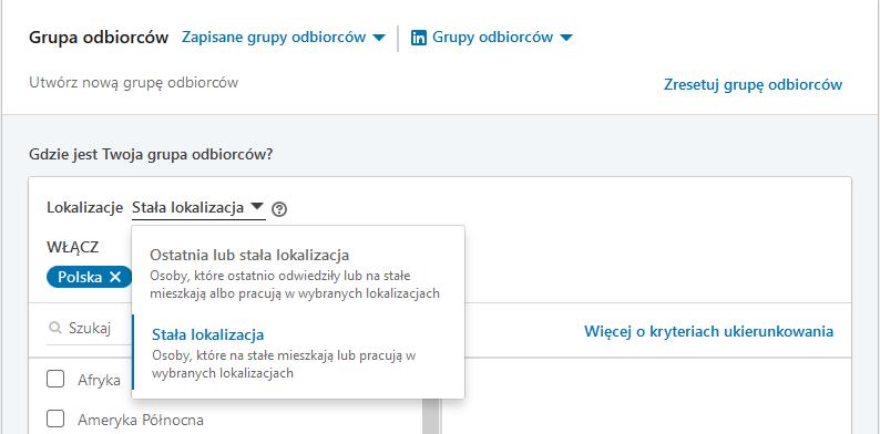 LinkedIn - kierowanie reklamy na lokalizacje