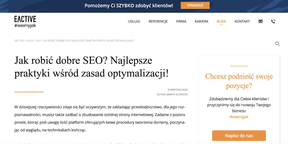 Screen - wpis blogowy - eactive