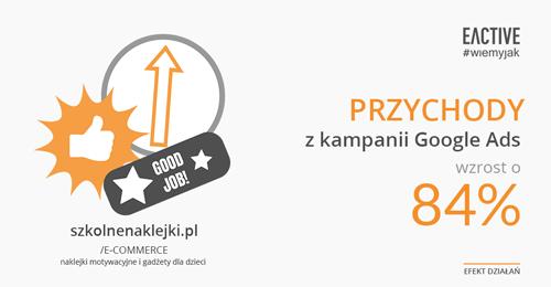 Wzrost przychodów o84% dla szkolnenaklejki.pl