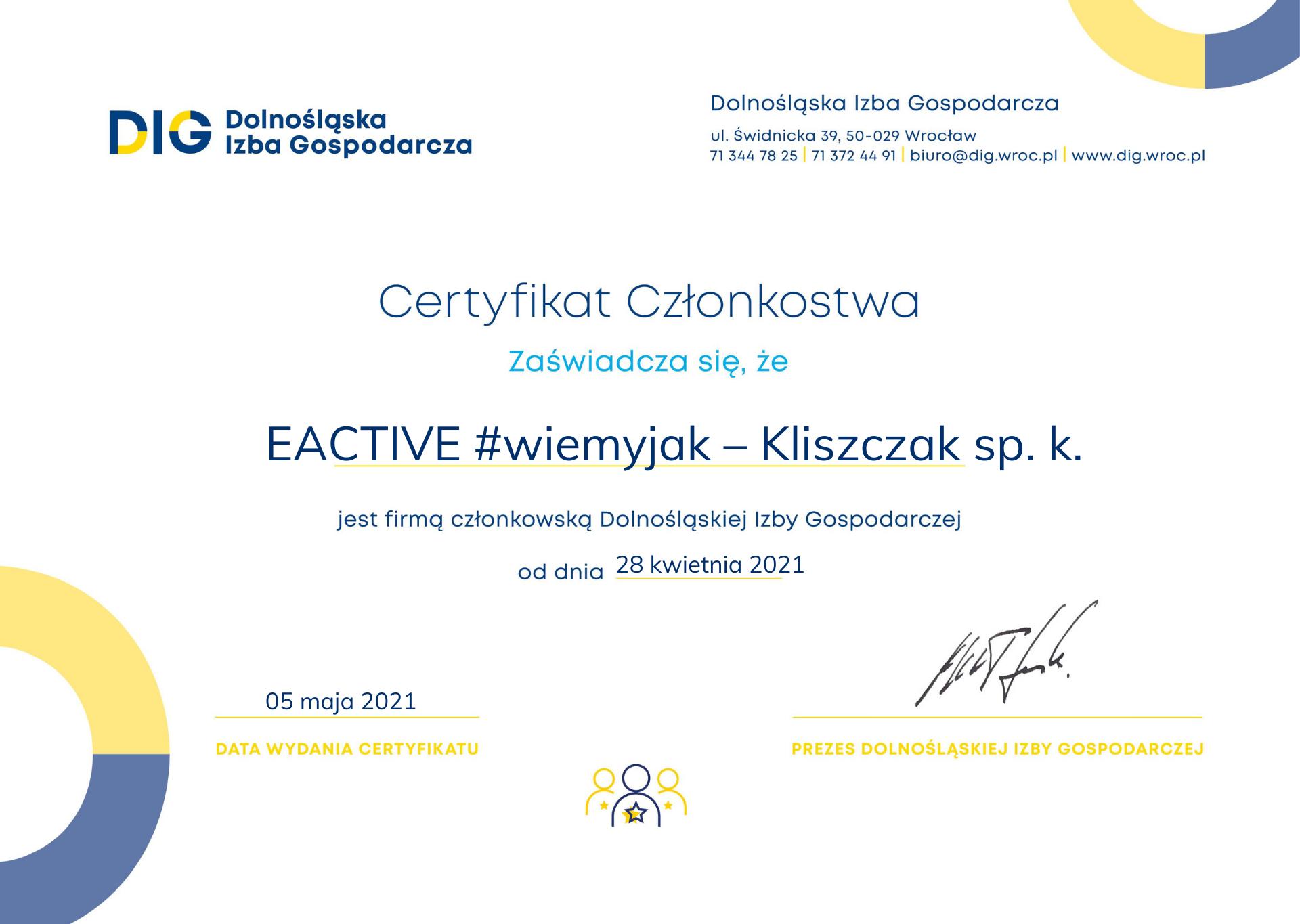 Certyfikat członkostwo EACTIVE w Dolnośląskiej Izbie Gospodarczej