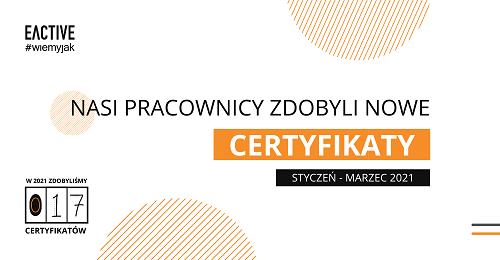 Nowe certyfikaty wEACTIVE – pierwszy kwartał 2021